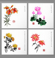 set of card with flowers in orental style vector image vector image