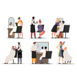 set of male and female hairdressers working vector image