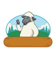 sheep in farm with wooden blank space vector image vector image