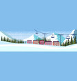 ski resort hotel houses buildings cable car vector image vector image
