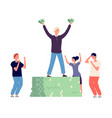 success and envy rich happy man and angry vector image vector image