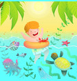 swimming boy kid in tropical paradise island vector image vector image