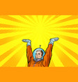 template astronaut holding something on his hands vector image vector image