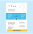 template layout for question mark comany profile vector image vector image