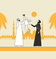 traditional arab family muslim mosque vector image vector image