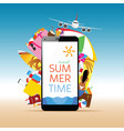travel summer with white smartphone and message vector image vector image
