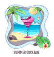 tropic cocktail on sea beach landscape paper cut vector image