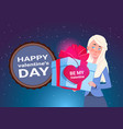 valentines day concept banner cute woman holding vector image