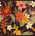 watercolor tropic floral seamless autumn pattern vector image