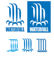 waterfalls logo set vector image