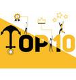 word concept top ten and people doing activities vector image