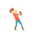 young man in bright costume dancing at folklore vector image vector image