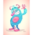 Funny cartoon blue hairy monster vector image