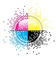Creative CMYK pixelated design vector image