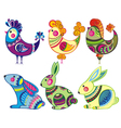 Easter rabbits and chickens vector image