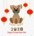 2018 happy chinese new year of dog lanterns and vector image vector image