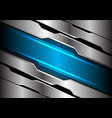 abstract blue light banner on silver polygon vector image vector image