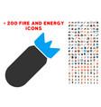 aviation bomb icon with bonus energy collection vector image