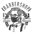 barbershop label with a barber in mask amid vector image
