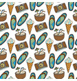 beach doodle seamless pattern with cocktail ice vector image