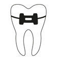 black and white healthy tooth in brace silhouette vector image