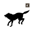 black silhouette of running wolf vector image