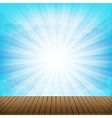 Brown wood floor texture and cloud blue sky vector image