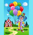 clown girl with balloons near tent vector image