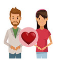 colorful poster half body couple bearded man and vector image