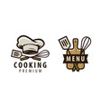 cooking cuisine logo or label menu design vector image vector image