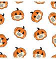 corona halloween pumpkin seamless pattern vector image vector image