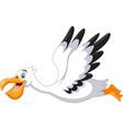 cute cartoon pelican is flying vector image vector image