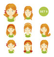 cute ginger little girls with various hair style vector image vector image