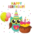 Cute Owl Happy Birthday Background with Balloons vector image