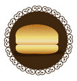 decorative frame with bread hamburger icon food vector image vector image