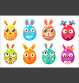 easter bunny in shape of an egg in different vector image vector image