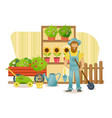 farmer stands near the department with plants vector image vector image