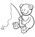 fishing bear coloring book vector image vector image