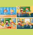 four scenes with students at school vector image