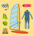 fun water extreme sport kiteboarding surfer vector image