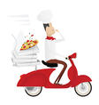 Funny italian chef delivering pizza on red moped vector image vector image