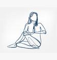 girl pose yoga asana one line design element