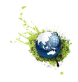 globe with floral and grunge vector image vector image