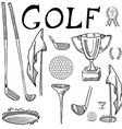 golf sport hand drawn sketch set with clubs vector image