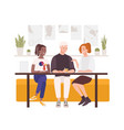 group friends sitting at cafe table drinking vector image vector image