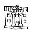 handdrawn doodle bank building icon vector image