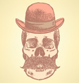 Hat Mustache Scull vector image