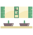 His And Her Sink With Mirrors vector image vector image