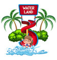 isolated girl in water park vector image vector image