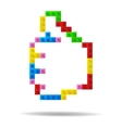 Like symbol from plastic toy blocks vector image